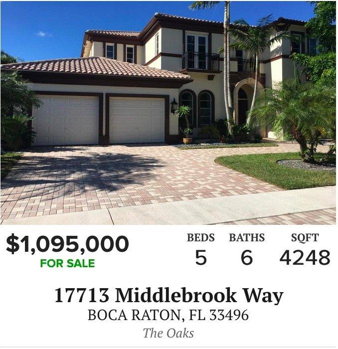 17713 Middlebrook Way Boca Raton, FL 33496 - The Oaks at Boca Raton