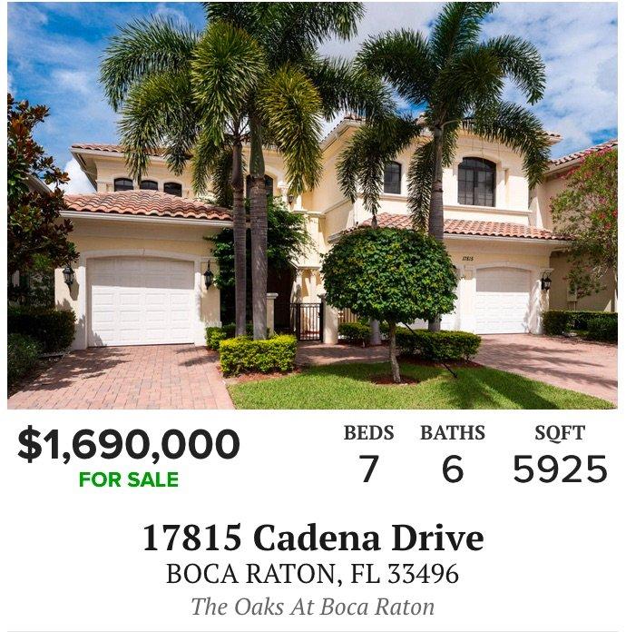 17815 Cadena Drive Boca Raton, FL 33496 - The Oaks at Boca Raton