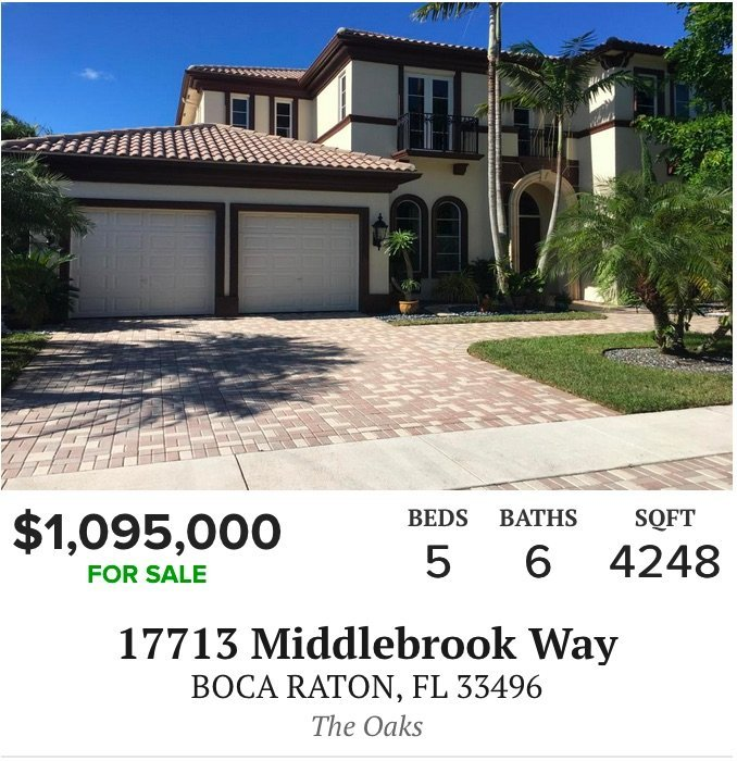 17713 Middlebrook Way Boca Raton, FL 33496 - The Oaks at Boca Raton